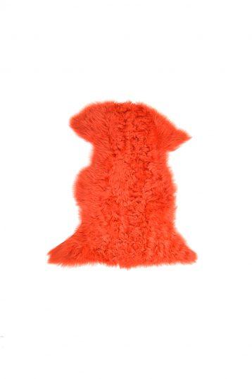 Small Curly Toscana Sheepskin Rug in Furnace Orange cut out