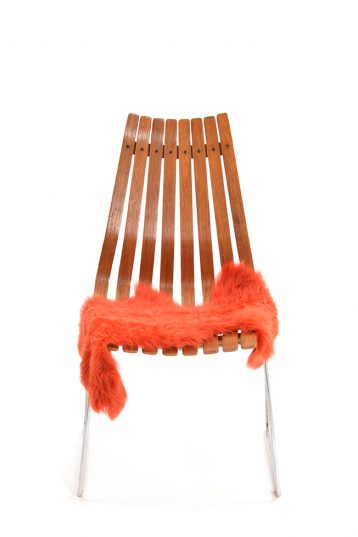 Small Curly Toscana Sheepskin Rug in Furnace Orange front