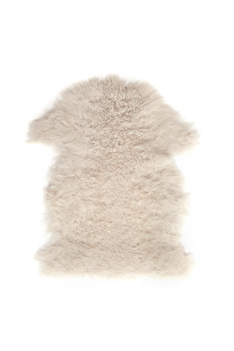 Small Curly Toscana Sheepskin Rug in Beige | Homewear | Gushlow & Cole cut out