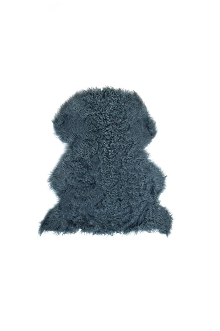 Small Curly Toscana Sheepskin Rug in Spruce Green cut out