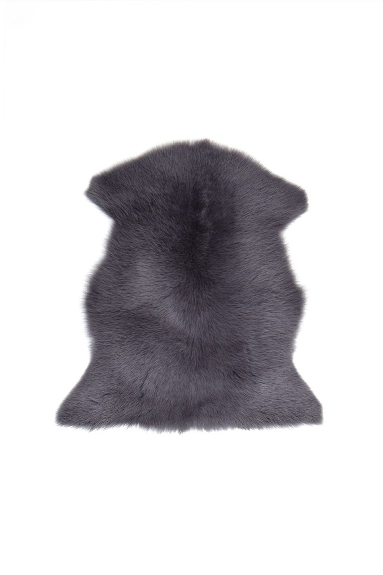 Small Toscana Sheepskin Rug in Dark Grey cut out
