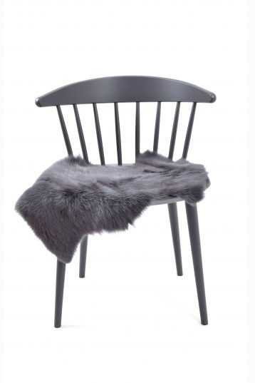 Small Toscana Sheepskin Rug in Dark Grey side front