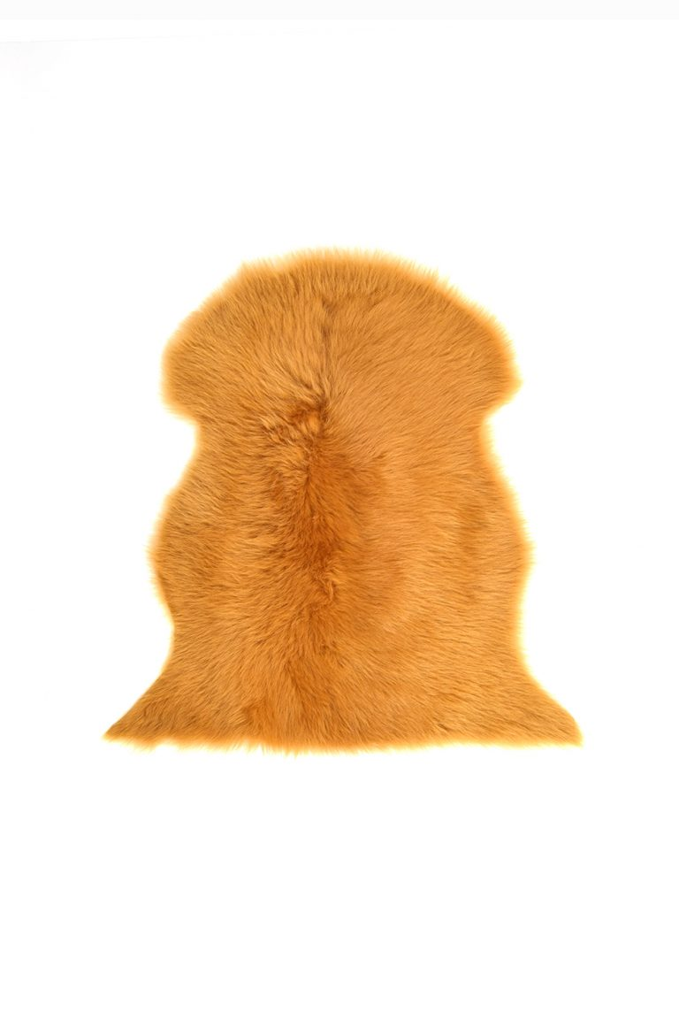 Small Toscana Sheepskin Rug in Mustard Yellow cut out