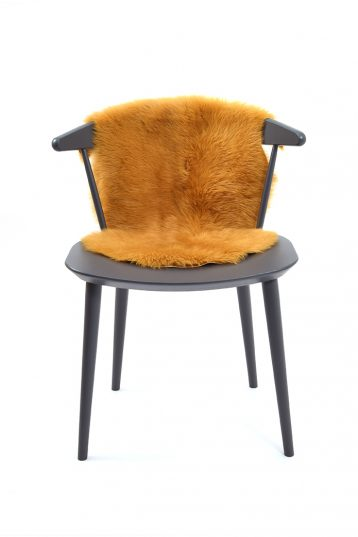 Small Toscana Sheepskin Rug in Mustard Yellow front 2