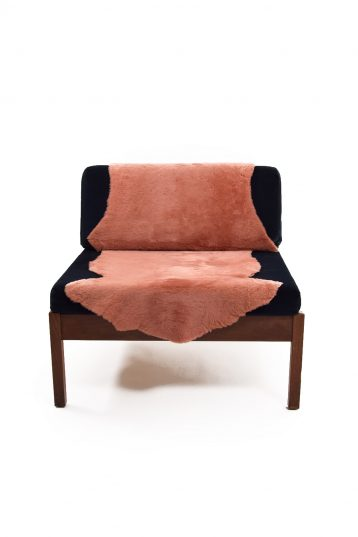 Double Merino Sheepskin Rug in Cantaloupe Orange front