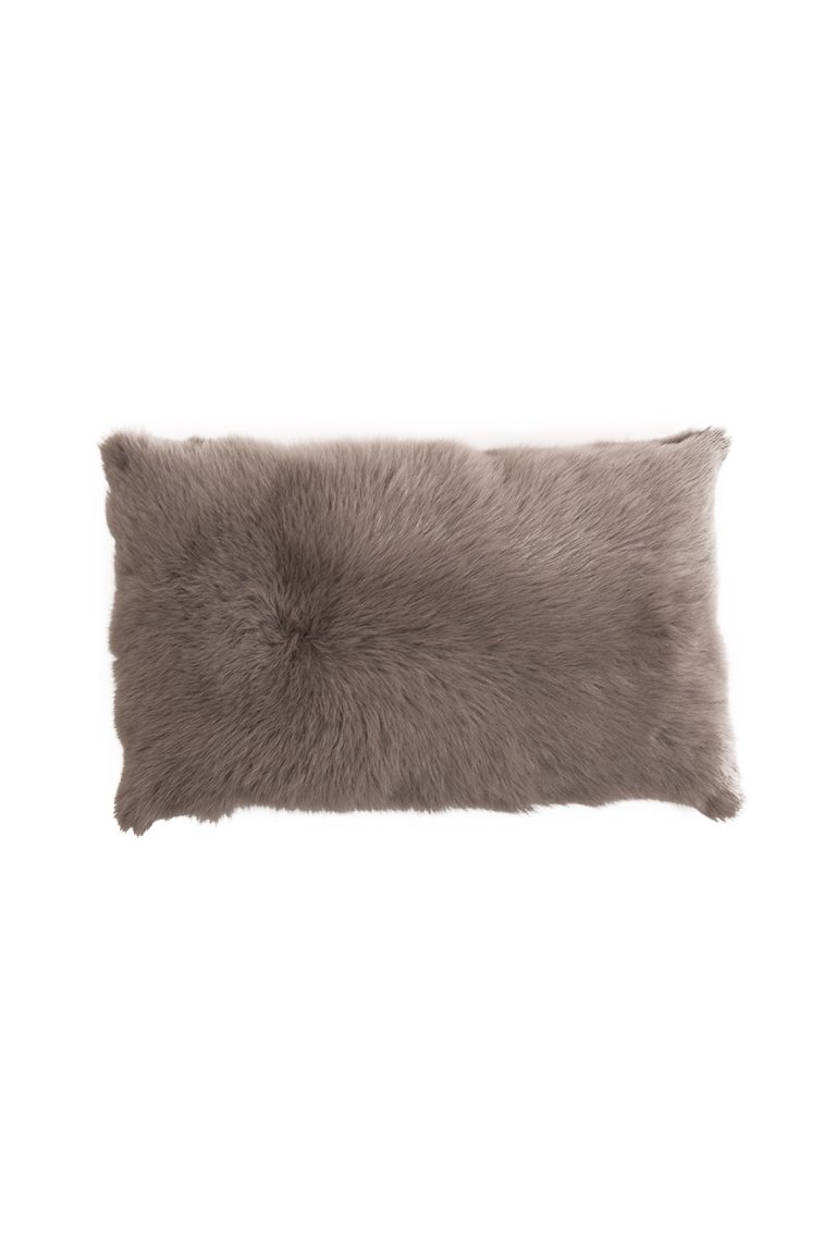 Large Toscana Sheepskin Cushion in Taupe cut out front