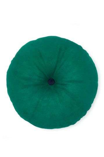 Round Suede Cushion in Jade Green - front