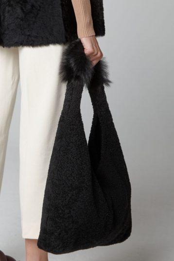black Mixed Texture Shearling Slouch Bag - crop - women   Gushlow & Cole