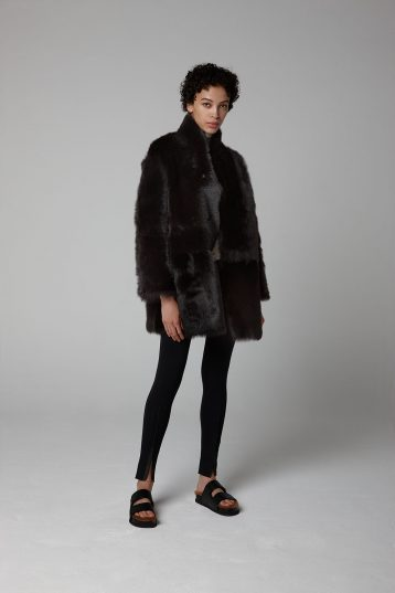 Brown Reversible Shearling Toscana Coat - model full length wool out - women | gushlow & cole
