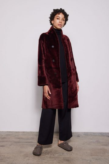 Burgundy Turned Edge Stand Collar Shearling Coat - model full length front wool out - women | Gushlow & Cole