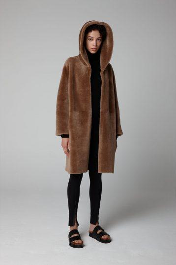 Camel Hooded Shearling Coat - model full length hood up - women | Gushlow & Cole