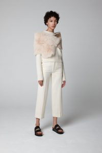 Cream Small Shearling Double Shawl Scarf - model full length - women | Gushlow & Cole