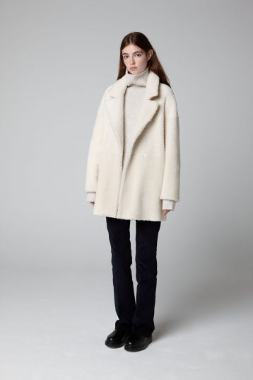 White Mid Length Shearling Overcoat - full length model open - women | Gushlow & Cole